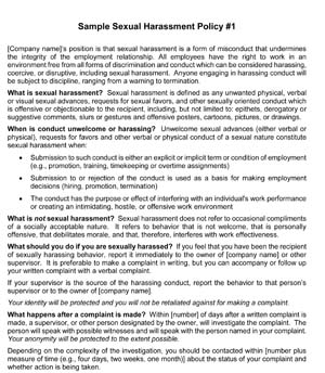 Sample Sexual Harassment Policies