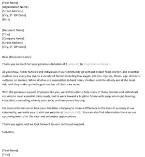 Fundraising Thank You Letter