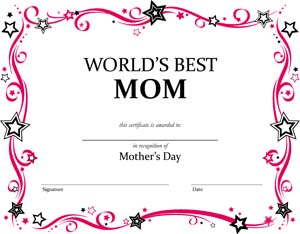 World's Best Mom Certificate #1