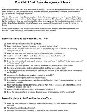 Basic Franchise Checklist