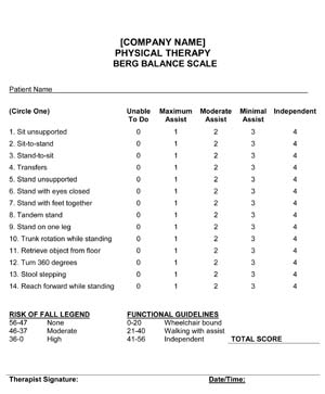 Outpatient Physical Therapy Berg Balance Scale