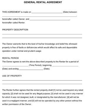 General Rental Agreement