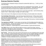 Business Selection Checklist