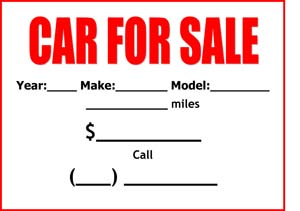 Car For Sale Sign Small Business Free Forms