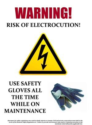 Warning of Electrocution Sign
