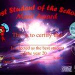 Best Student of the School Certificate