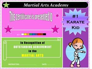 Girls Karate Award Certificate
