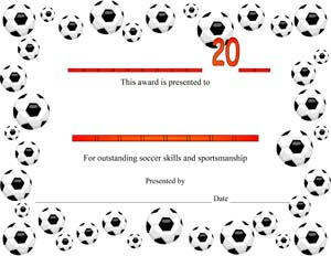 Soccer Award Certificate #1