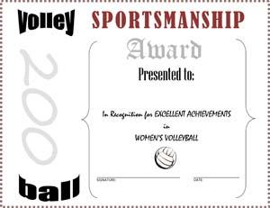 Women's Volley Ball Award Certificate