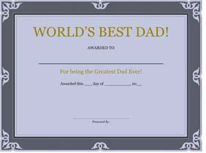 Certificate for Fathers Day