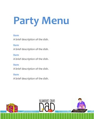 Fathers Day Office Party Menu