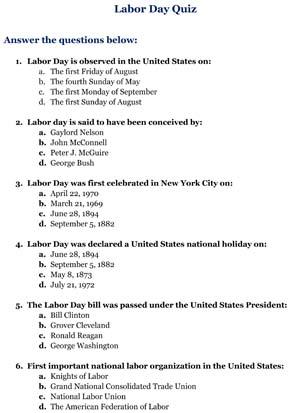 Labor Day Quiz