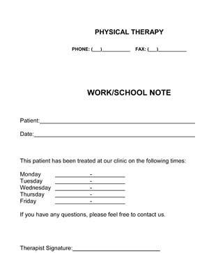 Outpatient Physical Therapy Work/School Note