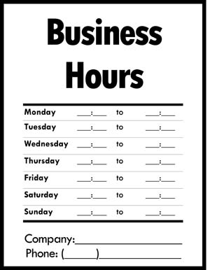 Business Hours of Operation Sign