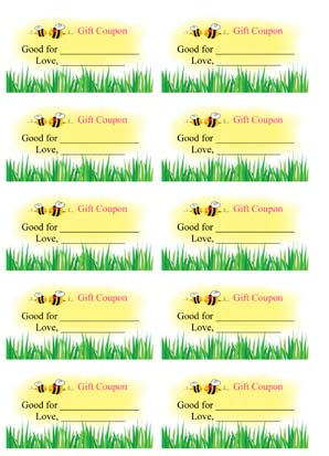 Mothers Day Blank Coupons
