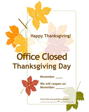 Thanksgiving Office Closed Flyer