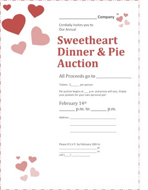 Valentines Day Dinner & Pie Auction Flyer
