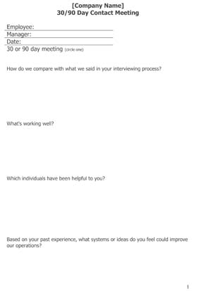 Employee 30-90 Day Retention Questions
