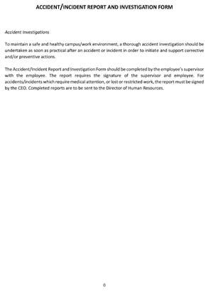Incident/Accident Report Investigation Form