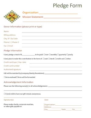 Pledge Form For Donations Small Business Free Forms