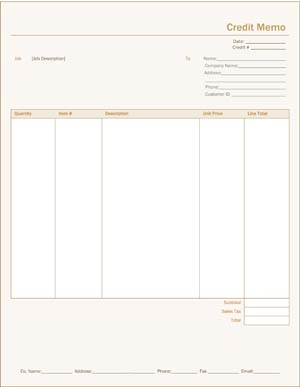 Business Credit Receipt Template #2