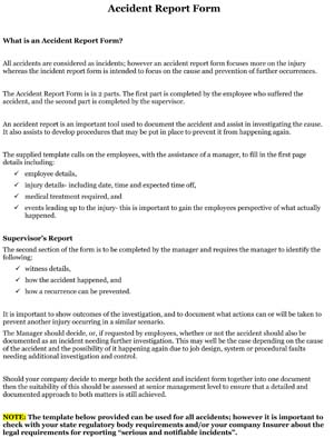 Sample Employee Accident Report Form