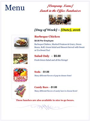 Lunch in the Office Fundraiser Menu