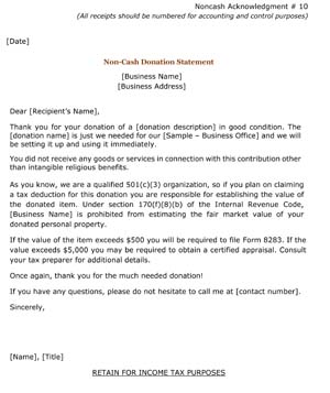 noncash donation statement receipt small business free forms