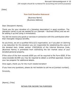 NonCash Donation Statement (Receipt)