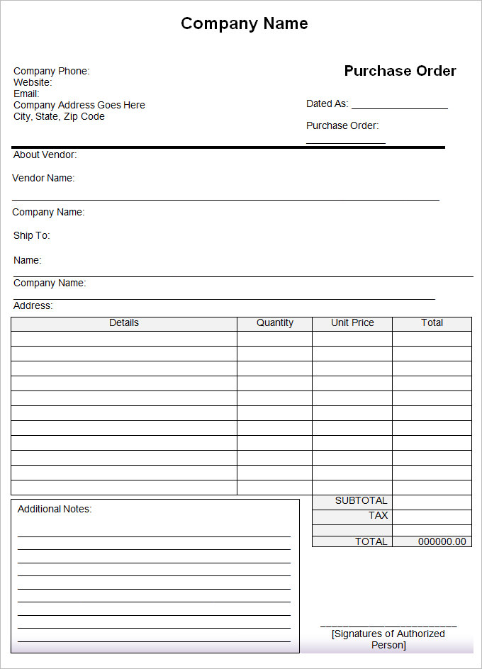 samples of order forms for purchases