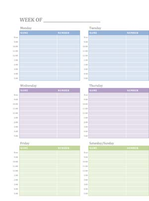 Sample Business Weekly Appointment Schedule Template