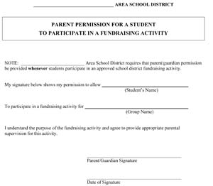 Academic Fundraiser Parent Permission Slip
