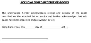 Sample Acknowledged Receipt of Goods