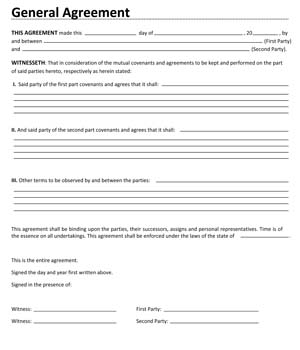 Sample Business General Agreement Contract