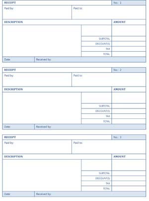 Printable Cash Receipts Small Business Free Forms