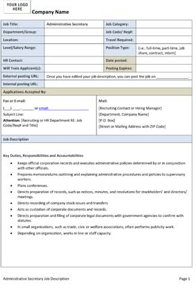 Sample Administrative Secretary Job Description