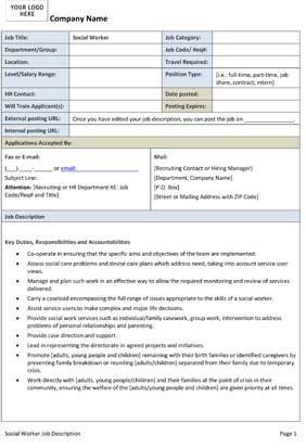 Sample Social Worker Job Description