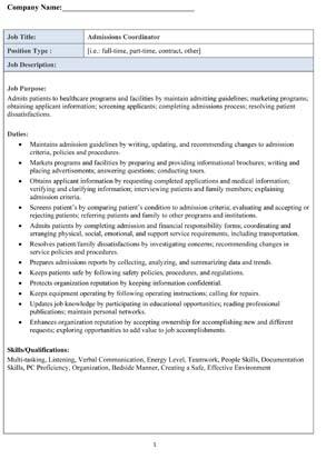Sample Admissions Coordinator Job Description
