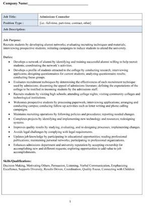 Sample Admissions Counselor Job Description