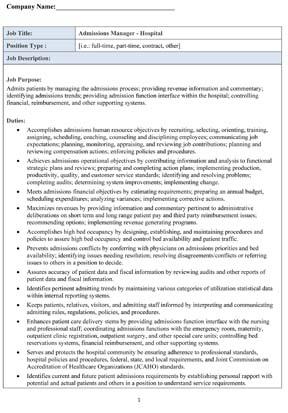 Sample Hospital Admissions Manager Job Description