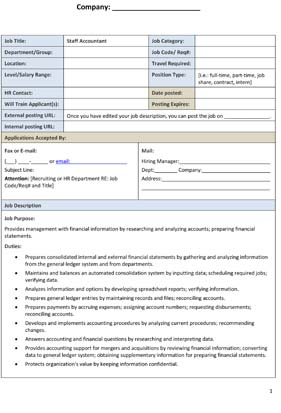 Sample Staff Accountant Job Description