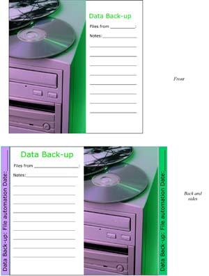 Data Backup CD Insert
