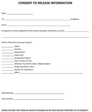 Sample Consent to Release Information Form