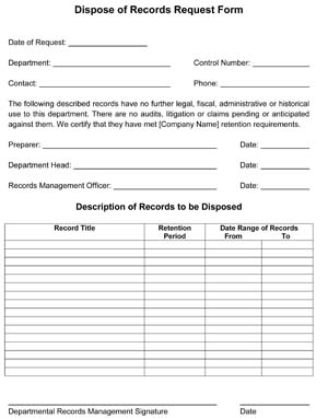 Dispose of Records Request Form
