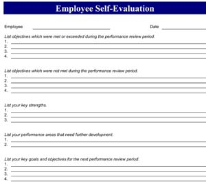 Sample Employee Self Evaluation