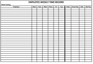 Employee Weekly Time Record