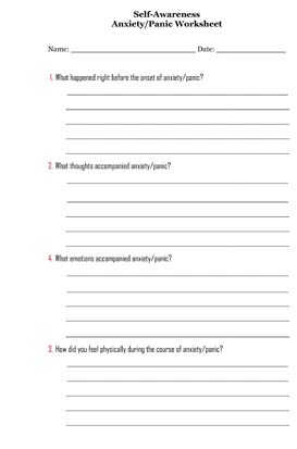 Self-Awareness Anxiety/Panic Worksheet - Small Business Free ...