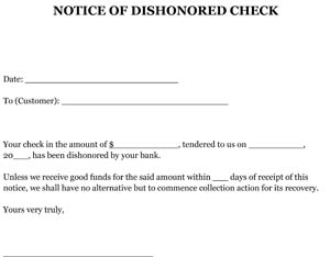Sample Notice of Dishonored Check